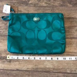 NWT Green Authentic Coach Make Up Bag